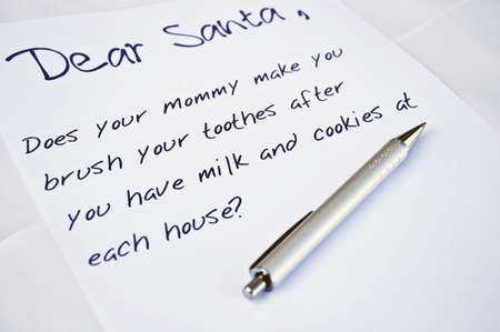 Dear santa letter and a pen photo