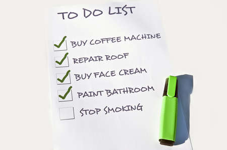 To do list with stop smoking Stock Photo - 8357105