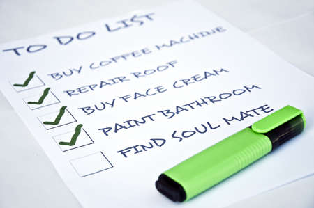 To do list with find soul mate Stock Photo - 8357087