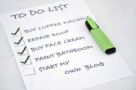 To do list with start my own blog Stock Photo - 8357014