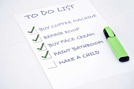 To do list with make a child Stock Photo - 8356884