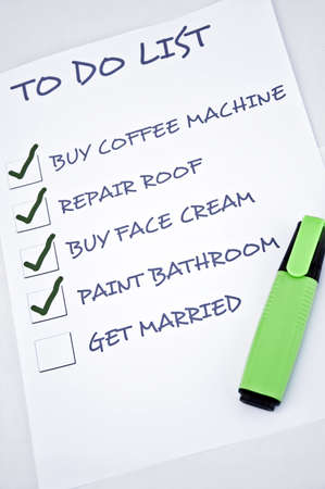 to do list: To do list with get married Stock Photo