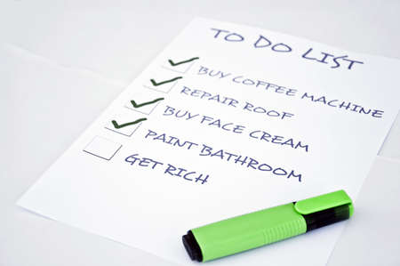 To do list with get rich Stock Photo - 8356883