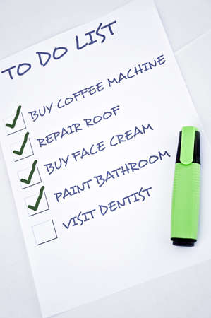 to do list: To do list with visit dentist Stock Photo