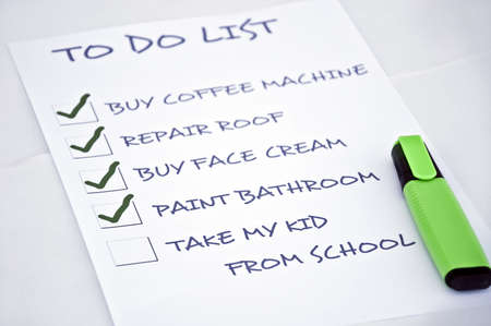 To do list with take my kid from school Stock Photo - 8357007