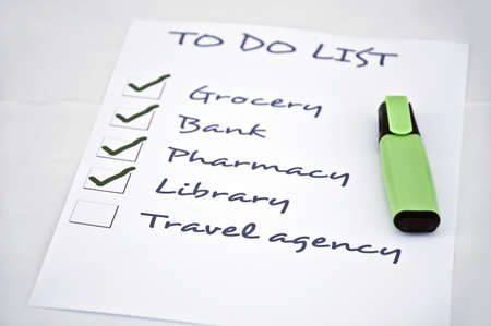 organising: To do list with travel agency
