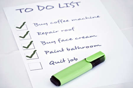 quit: To do list with quit job Stock Photo