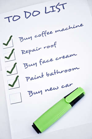 To do list with  buy new car photo