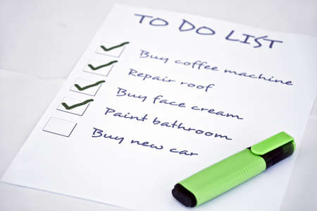 organising: To do list with  buy new car