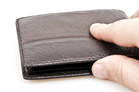 Male hand on leather wallet photo