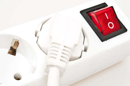 grounded plug: Isolated power outlet with red button