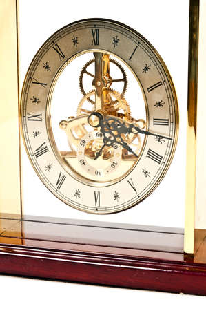 Isolated vintage clock on white background photo
