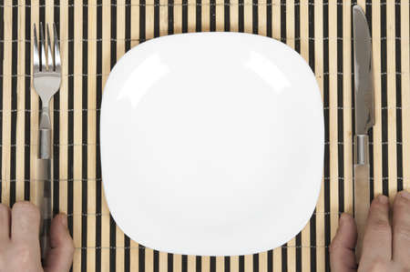 Isolated table arrangement with striped wooden support Stock Photo - 8766476