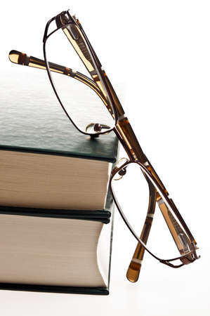 old library: Isolated green books and eyeglasses