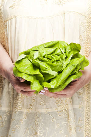 Housewife holding green salad photo