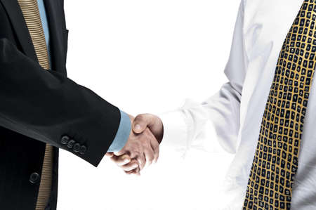 Old and young business people shake hands photo