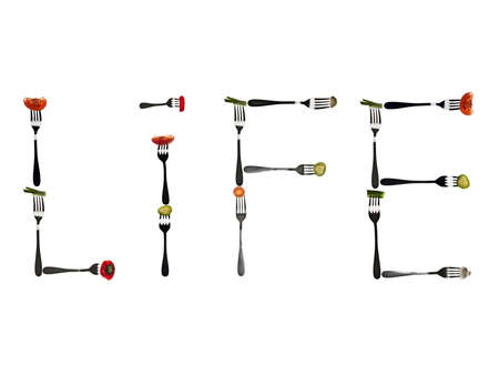 typesetter: Life word made of different type of vegetables in forks