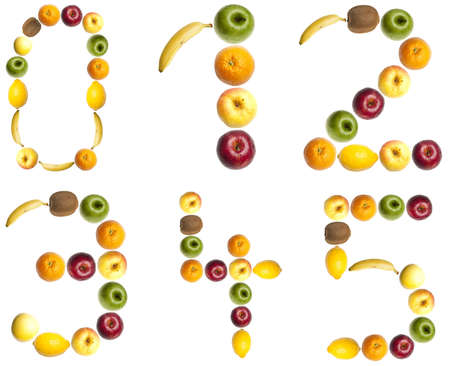 collage alphabet: 0 to 5 digits made of fruits