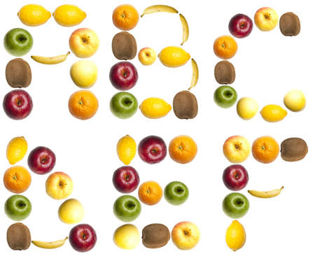 typesetter: A to F letters made of fruits Stock Photo