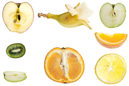 Collage of different type of fruit slices photo