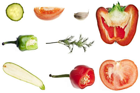 Collage of different slices of vegetables photo