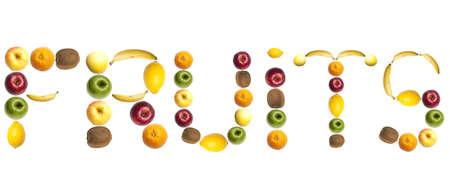 Fruits word made of mixed fruits Stock Photo - 8924211