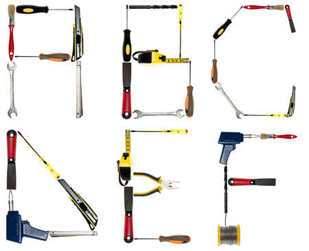typesetter: A to F letters made of different hand tools