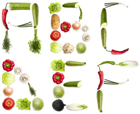 collage alphabet: A to F letters made of different vegetables