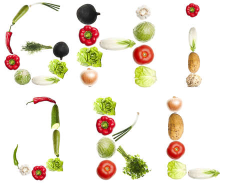 G to L letters made of different vegetables Stock Photo - 8924493