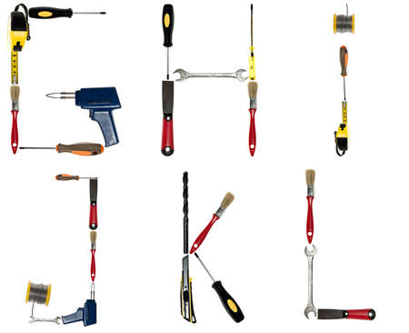the hand tools: G to L letters made of different hand tools