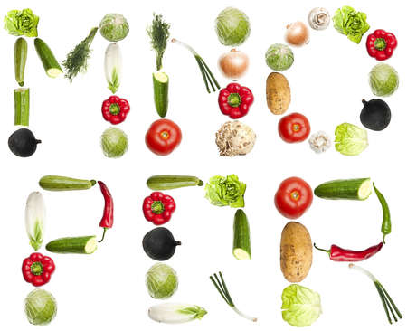 M to R letters made of different vegetables photo
