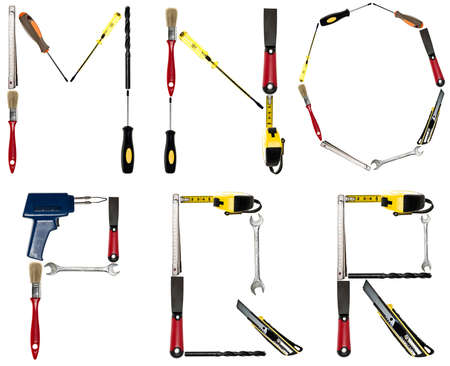 handtool: M to R letters made of different hand tools
