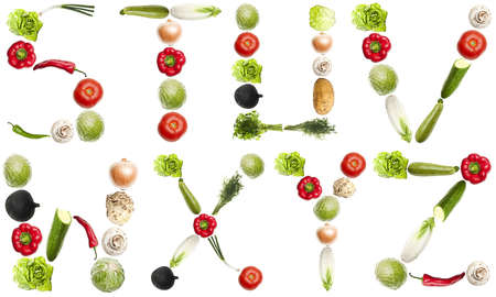 S to Z letters made of different vegetables photo