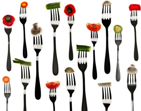 Many different type of vegetables in forks Stock Photo - 8924364