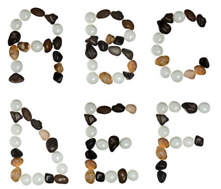 A to F letters made of stones photo