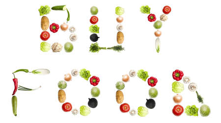 Buy food  words made of different type of vegetables photo