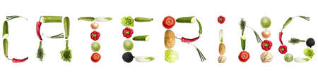 Catering word made of different type of vegetables Stock Photo - 8924401