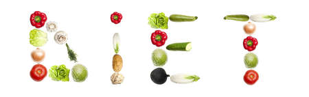 Diet word made of different type of vegetables photo