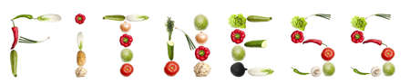 Fitness word made of different type of vegetables photo