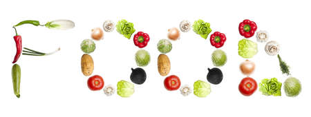 Food word made of different type of vegetables photo