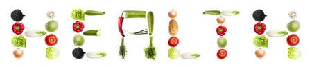leguminosas: Palabra de salud de diferente tipo de verduras Foto de archivo