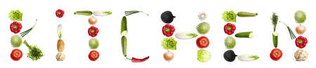 Kitchen word made of different type of vegetables Stock Photo - 8924446