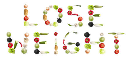 lose weight words made of different type of vegetables photo