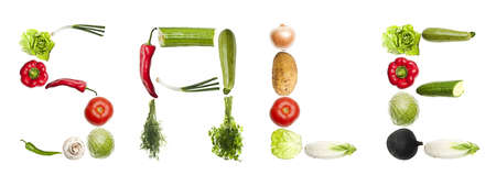 Sale word made of different type of vegetables photo