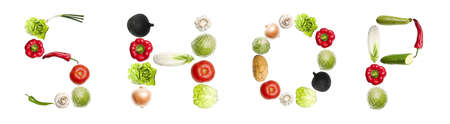 Shop word made of different type of vegetables photo