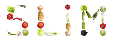 Slim word made of different type of vegetables photo