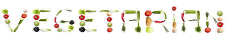 Vegetarian word made of different type of vegetables Stock Photo - 8924435