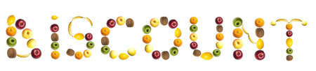 Discount word made of different of fruits photo
