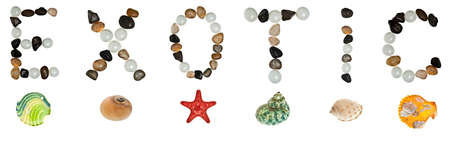 Exotic word made of stones and sea objects photo