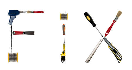Fix word made of different hand tools photo